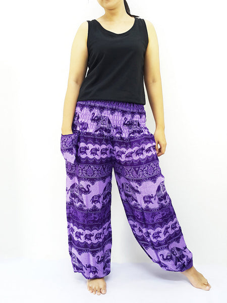 PRT29 Thai Women Clothing Comfy Rayon Bohemian Trousers Hippie Baggy Genie Boho Pants Elephant Violet Purple, Pants, NaughtyGirl, HaremPantsThai