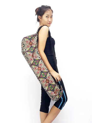 Handmade Yoga Mat Bag Yoga Bag Sports Bags Tote Sling bag Pilates Bag Pilates Mat Bag Woven Cotton bag (L-WF42)