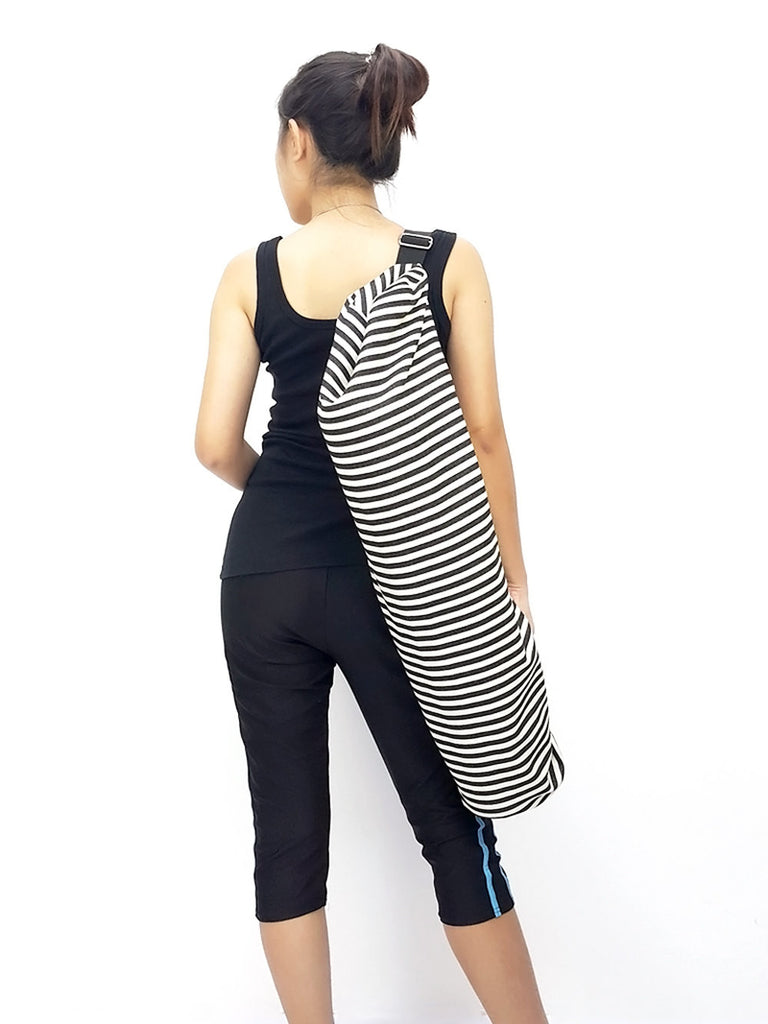 Handmade Yoga Mat Bag Yoga Bag Sports Bags Tote Sling bag Pilates Bag Pilates Mat Bag Women bag Cream & Black Denim Striped Yoga Bag (L)