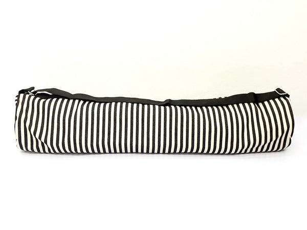Thai Handmade Woven Yoga Mat Bag Sports Bags Pilates Mat Bag Cream & Black Denim Striped (L), VeradaShop, HaremPantsThai