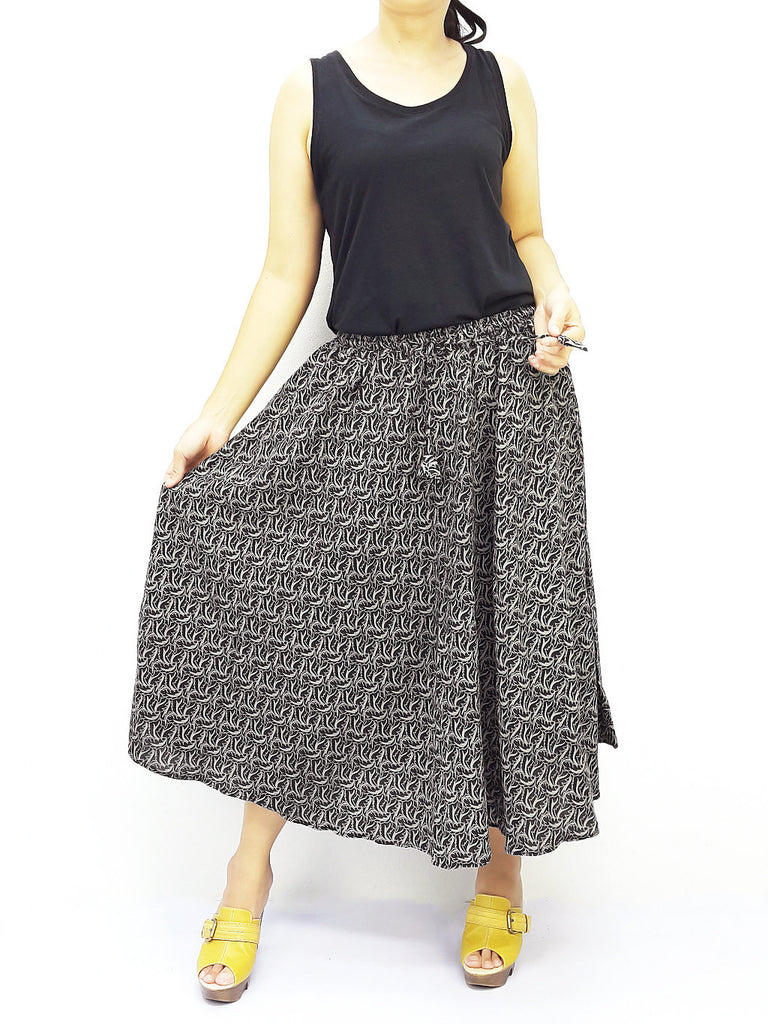 PCSK4 Women Cotton Skirt Maxi Skirt Gypsy Skirt Cotton Skirt Boho Skirt Hippie Skirt Summer Beach Skirt Comfy Skirt Unique Midi Skirt Black, Pants, NaughtyGirl, HaremPantsThai
