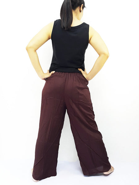 PRWT1 Rayon Bohemian Trousers Hippie Boho Pants Open Leg Wide Leg Plain Color Solid Color Brown, NaughtyGirl, HaremPantsThai