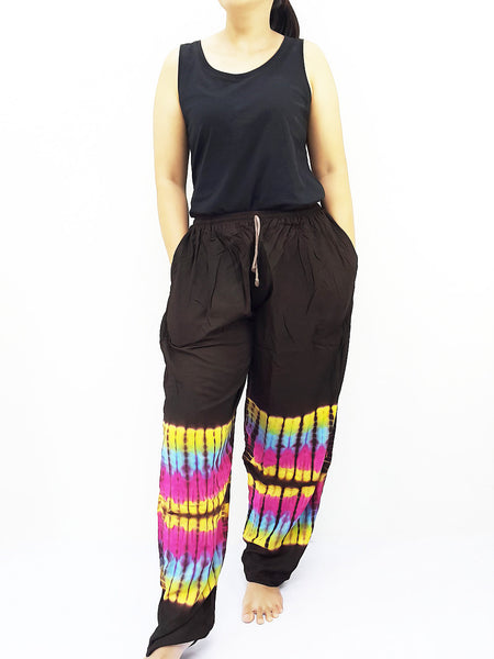 PTT1-34 Women Yoga Pants Maxi Pants Gypsy Pants Rayon Tie Dye Pants Long Pants Hippy Pants Boho Pants Tie Dye Brown
