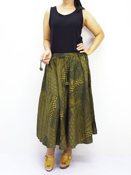 PCSK5 Women Cotton Skirt Maxi Skirt Gypsy Skirt Cotton Skirt Boho Skirt Hippie Skirt Summer Beach Skirt Comfy Skirt Unique Midi Skirt Green, Pants, NaughtyGirl, HaremPantsThai