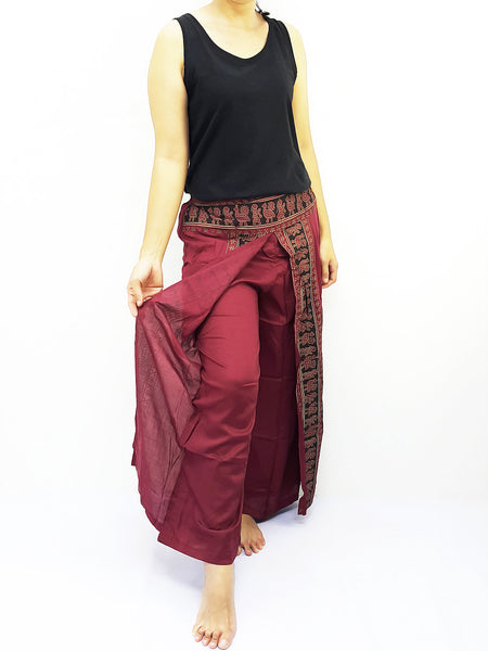 SRH@32 Thai Women Clothing Harem Pants Drop Crotch Comfy Rayon Bohemian Hippie Baggy Genie Boho Pants Feather Royal Blue