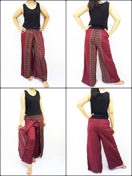 PRWT4 Rayon Bohemian Trousers Hippie Boho Pants Open Leg Wide Leg Plain Color Solid Color Red, NaughtyGirl, HaremPantsThai