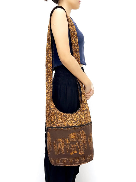 Cotton Handbags Elephant bag Hippie Hobo bag Boho bag Shoulder bag Sling bag Tote bag Crossbody bag Brown, VeradaShop, HaremPantsThai