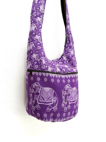 Cotton Handbags Elephant bag Hippie Hobo bag Boho bag Shoulder bag Sling bag Tote bag Crossbody bag Violet, VeradaShop, HaremPantsThai