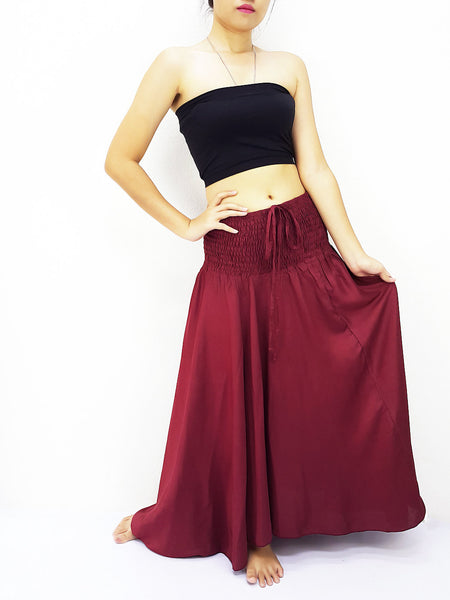 Thai Women Clothing Rayon Convertible Dresses Skirts Solid Plain Dark Red (DSC2)