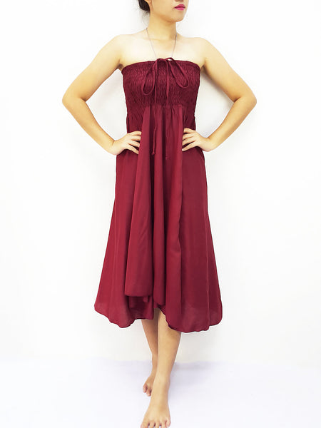 Rayon Convertible Dresses Skirts Solid Plain Dark Red (DSC2), NaughtyGirl, HaremPantsThai