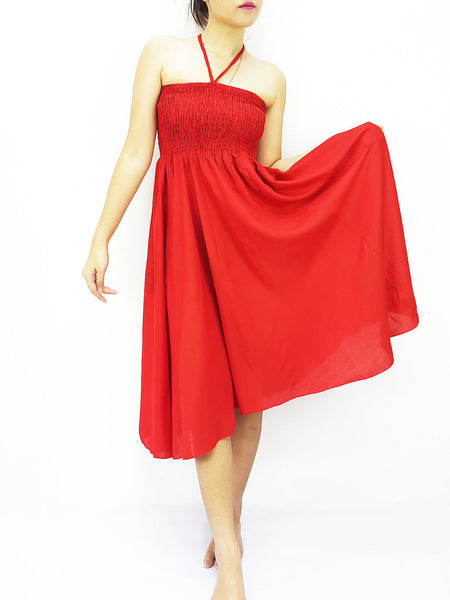 Thai Women Clothing Rayon Convertible Dresses Skirts Solid Plain Red (DSC9)