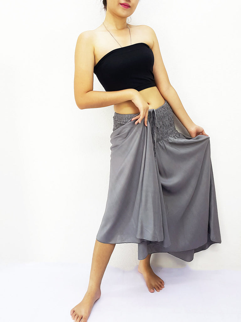 Thai Women Clothing Rayon Convertible Dresses Skirts Solid Plain Grey (DSC14)