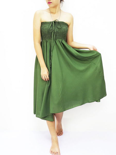 Thai Women Clothing Rayon Convertible Dresses Skirts Solid Green Olive (DSC15)