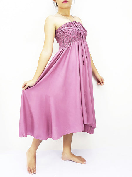 Thai Women Clothing Rayon Convertible Dresses Skirts Solid Plain Pink (DSC23)