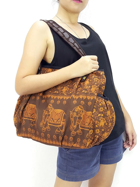 Cotton Handbags Elephant bag Hippie bag Hobo bag Boho bag Shoulder bag Tote bag Brown, VeradaShop, HaremPantsThai