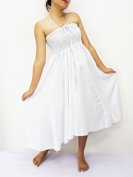 Thai Women Clothing Rayon Convertible Dresses Skirts Solid Plain White (DSC0)