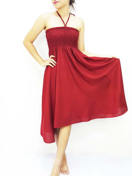 Rayon Convertible Dresses Skirts Solid Plain Maroon Red (DSC11), NaughtyGirl, HaremPantsThai