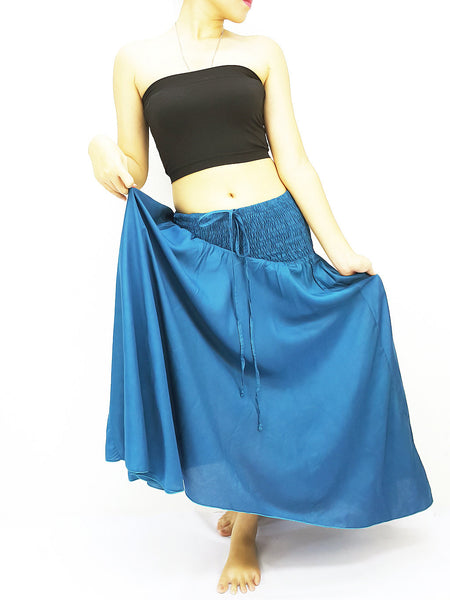 Thai Women Clothing Rayon Convertible Dresses Skirts Solid Plain Ocean Blue (DSC44)
