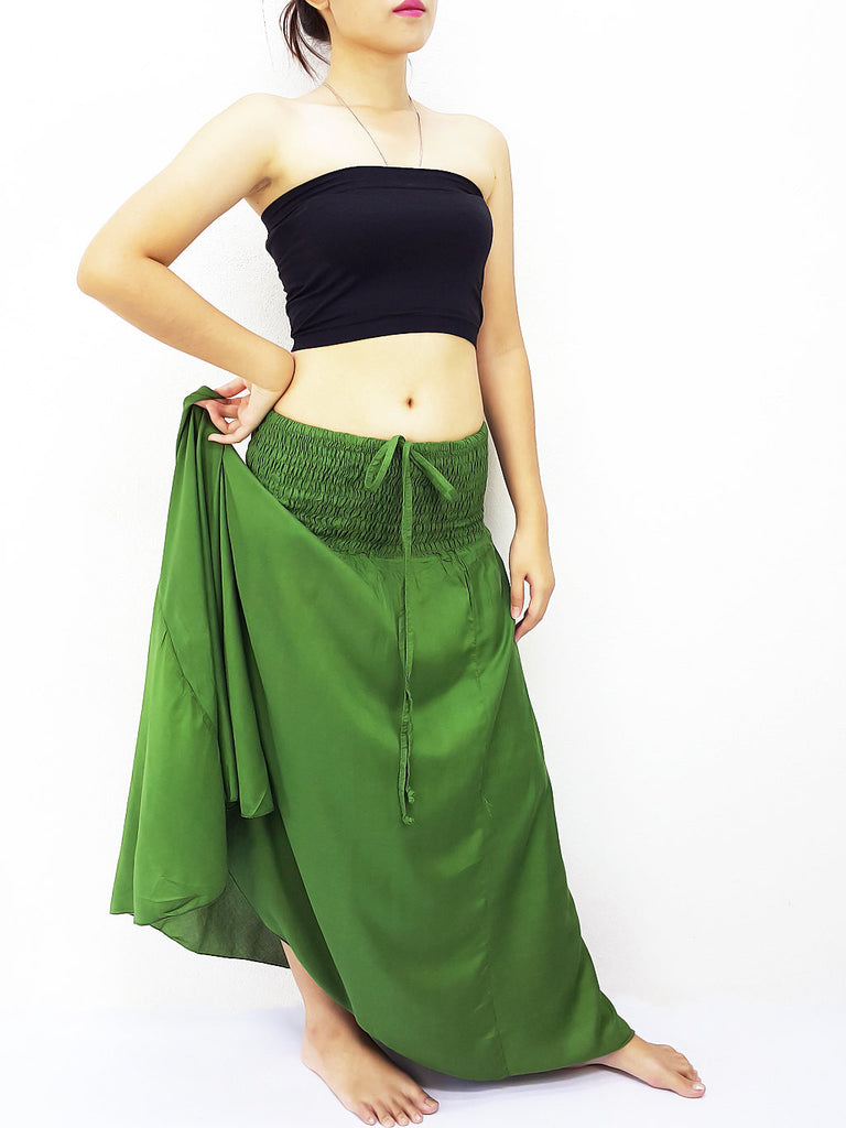 Thai Women Clothing Rayon Convertible Dresses Skirts Solid Green Forest (DSC56)