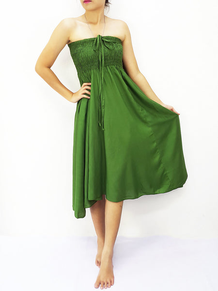 Rayon Convertible Dresses Skirts Solid Green Forest (DSC56), NaughtyGirl, HaremPantsThai