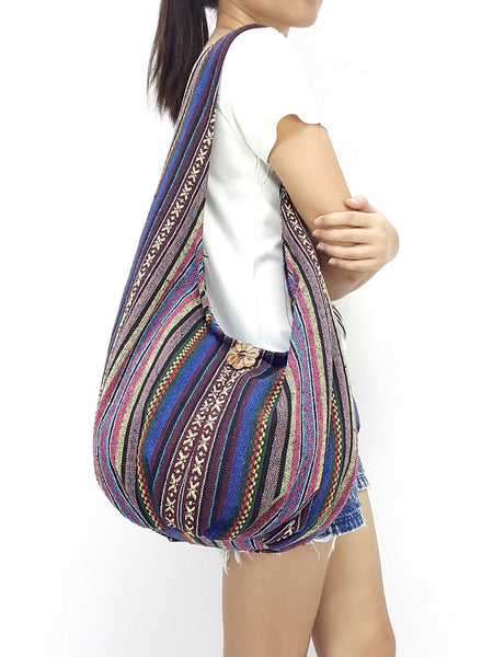 Woven Bag Cotton Bag Tribal bag Hobo Boho bag Shoulder Bag Short straps (WF97), VeradaShop, HaremPantsThai