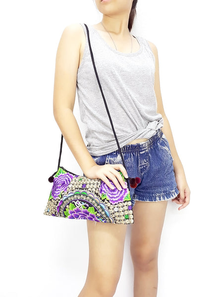 Thai Hill Tribe Bag Pom Pom Hmong Embroidered Ethnic Purse Woven Bag Hippie Bag Clutch Sling Bag Crossbody Bag Flower Violet, VeradaShop, HaremPantsThai