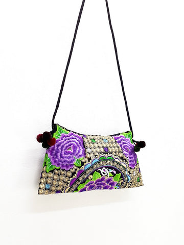 Thai Hill Tribe Bag Pom Pom Hmong Thai Bag Embroidered Ethnic Purse Bag Woven Bag Hippie Bag Clutch Sling Bag Crossbody Bag Flower Violet