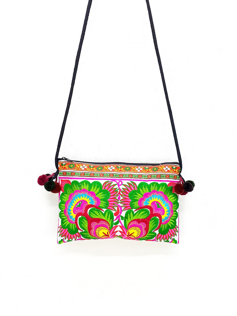 Thai Hill Tribe Bag Pom Pom Hmong Thai Bag Embroidered Ethnic Purse Bag Woven Bag Hippie Bag Clutch Bag Sling Crossbody Bag: Green