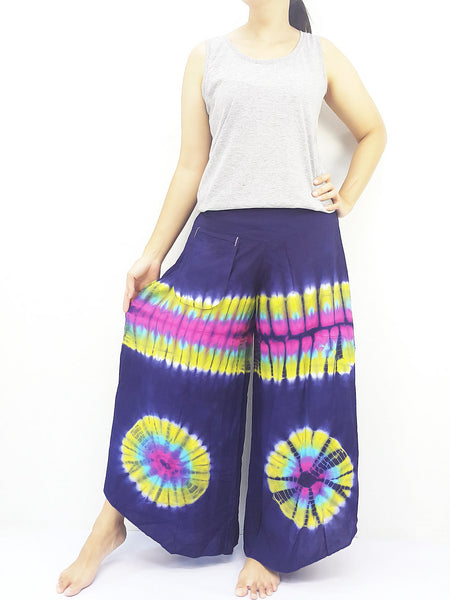 PWT21 Thai Women Clothing Comfy Rayon Bohemian Trousers Hippie Baggy Genie Boho Pants Wide Leg Tie Dye Blue