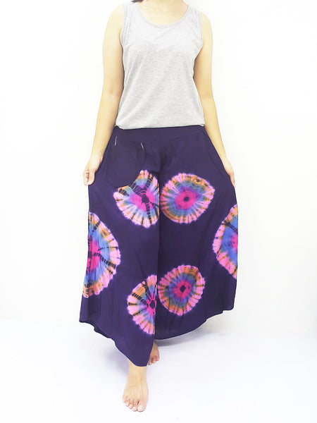 PWT30 Thai Women Clothing Comfy Rayon Bohemian Trousers Hippie Baggy Genie Boho Pants Wide Leg Tie Dye Blue