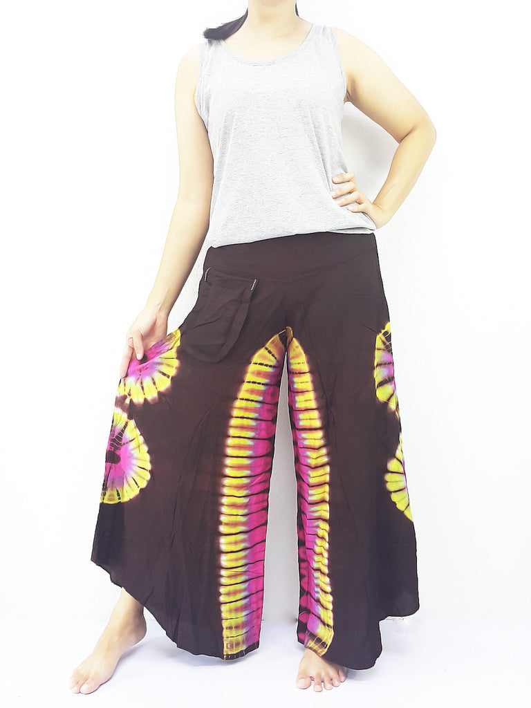 PWT32 Thai Women Clothing Comfy Rayon Bohemian Trousers Hippie Baggy Genie Boho Pants Wide Leg Tie Dye Brown
