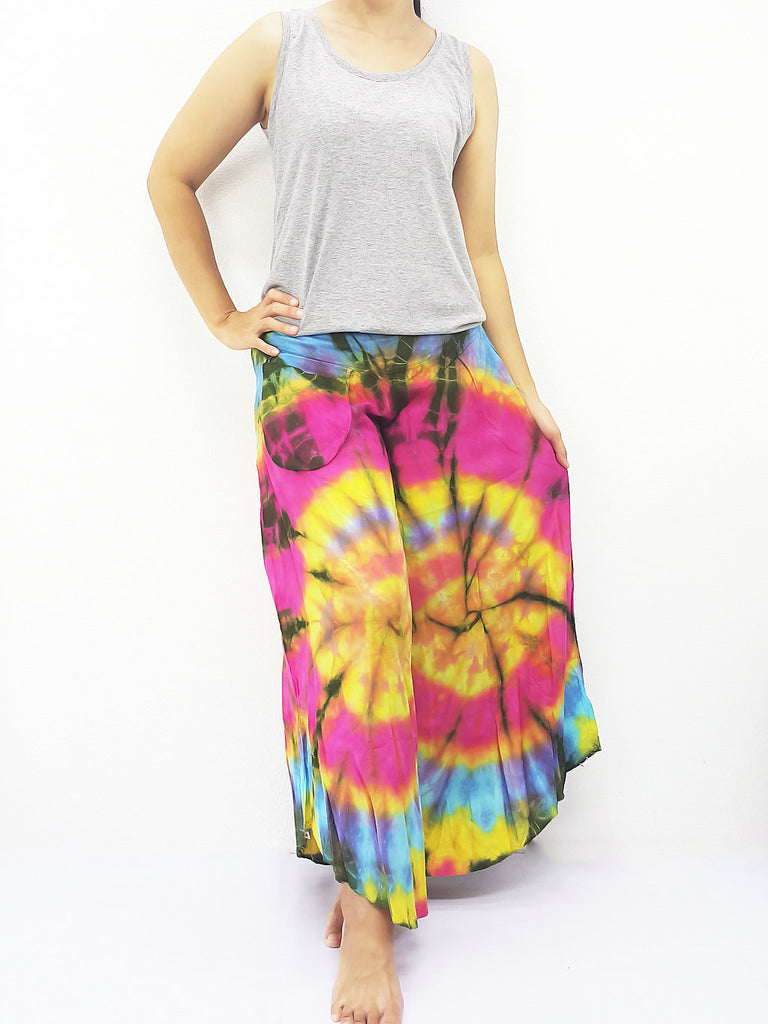 PWT37 Thai Women Clothing Comfy Rayon Bohemian Trousers Hippie Baggy Genie Boho Pants Wide Leg Tie Dye Rainbow