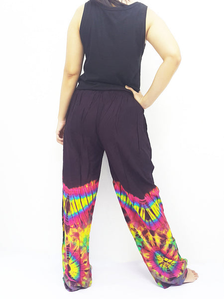 PTT1-37 Women Yoga Pants Maxi Pants Gypsy Pants Rayon Tie Dye Pants Long Pants Hippy Pants Boho Pants Tie Dye Purple