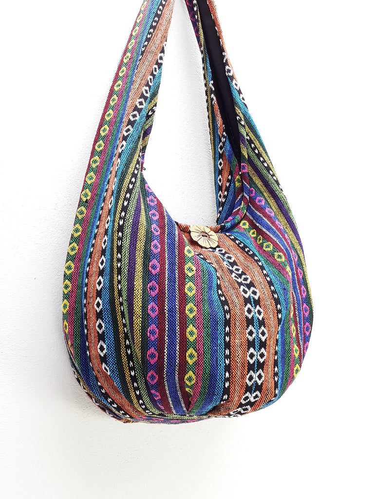 Woven Bag Handbags Tote Thai Cotton Bag Tribal bag Hippie bag Hobo bag Boho bag Shoulder bag Women bag Everyday bag Short Strap (WF33)