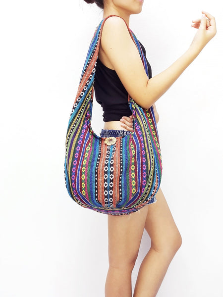 Woven Bag Cotton Bag Tribal bag Hobo Boho bag Shoulder Bag Short straps (WF33), VeradaShop, HaremPantsThai
