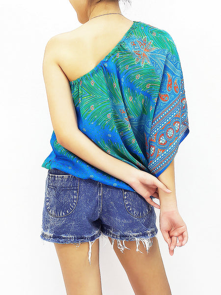 Blouses Rayon Printed Tops Blouses  Bohemian Feather Skyblue (TP12), NaughtyGirl, HaremPantsThai