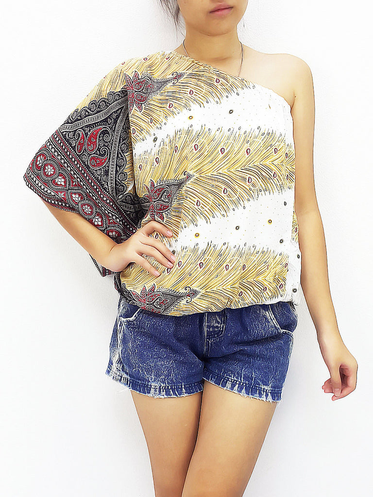 Blouses Rayon Printed Bohemian Feather White (TP15), NaughtyGirl, HaremPantsThai