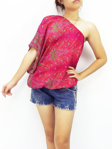 Blouses Rayon Printed Bohemian Feather Hot Pink (TP17), NaughtyGirl, HaremPantsThai