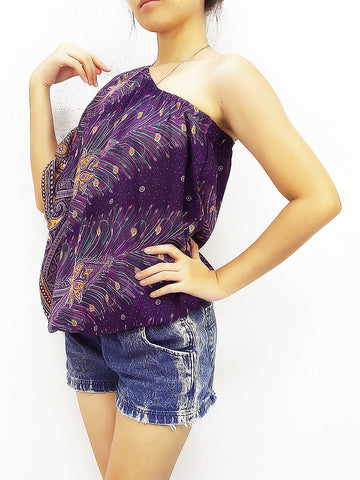 Blouses Rayon Printed Bohemian Feather Violet Purple (TP19), NaughtyGirl, HaremPantsThai