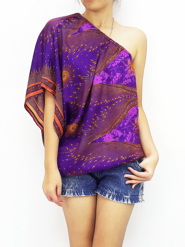 Women Clothing Printed Rayon Open Shoulder Blouses  Bohemian Shirt Sexy Clothes Peacock Violet Purple (TP22)