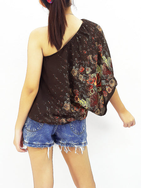 Women Clothing Printed Rayon Open Shoulder Tops Blouses  Bohemian Shirt Sexy Clothes Flower Brown (TP6)