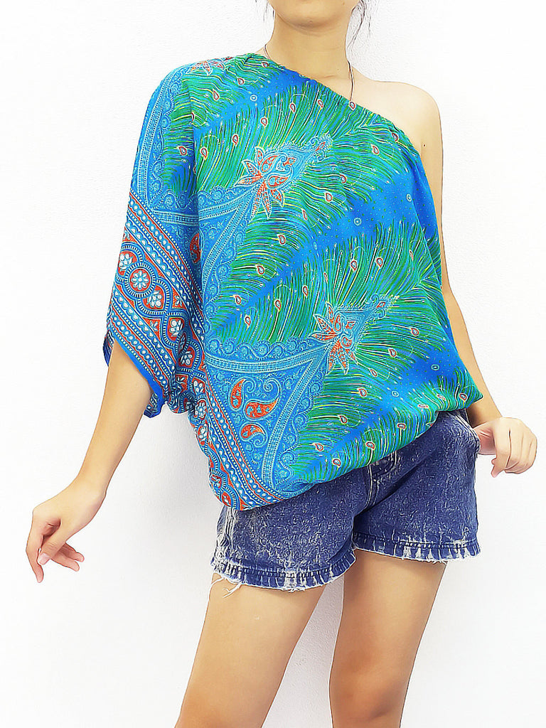 Women Clothing Printed Rayon Open Shoulder Tops Blouses  Bohemian Shirt Sexy Clothes Feather Skyblue (TP12)