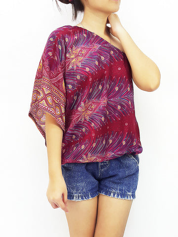 Blouses Rayon Printed Tops Blouses  Bohemian Feather Red (TP13), NaughtyGirl, HaremPantsThai