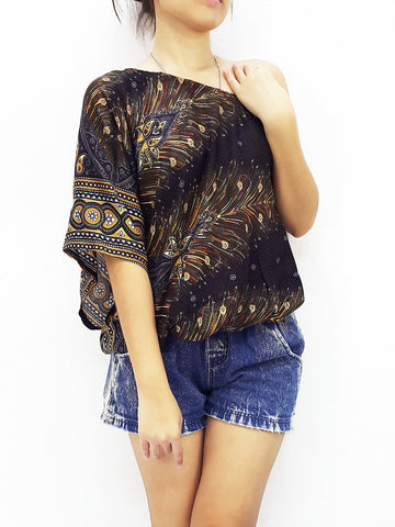Women Clothing Printed Rayon Open Shoulder Blouses  Bohemian Shirt Sexy Clothes Feather Black (TP20)