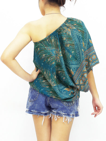 Blouses Rayon Printed Bohemian Feather Teal Green (TP21), NaughtyGirl, HaremPantsThai