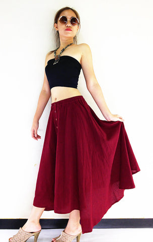 ST03 Women Clothing Organic Cotton Skirts Long Skirts Comfy Skirts Luxury Pleated Skirts Unique Skirts Maxi Skirt Gypsy Skirt Red