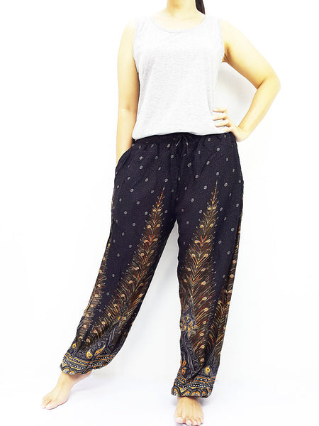 ST102 Thai Women Clothing Comfy Rayon Bohemian Trousers Hippie Baggy Genie Boho Pants Feather Black