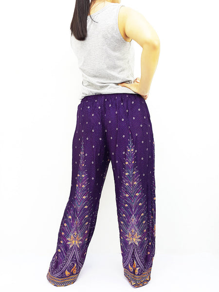 ST103 Rayon Bohemian Trousers Hippie Boho Pants Feather Purple, NaughtyGirl, HaremPantsThai