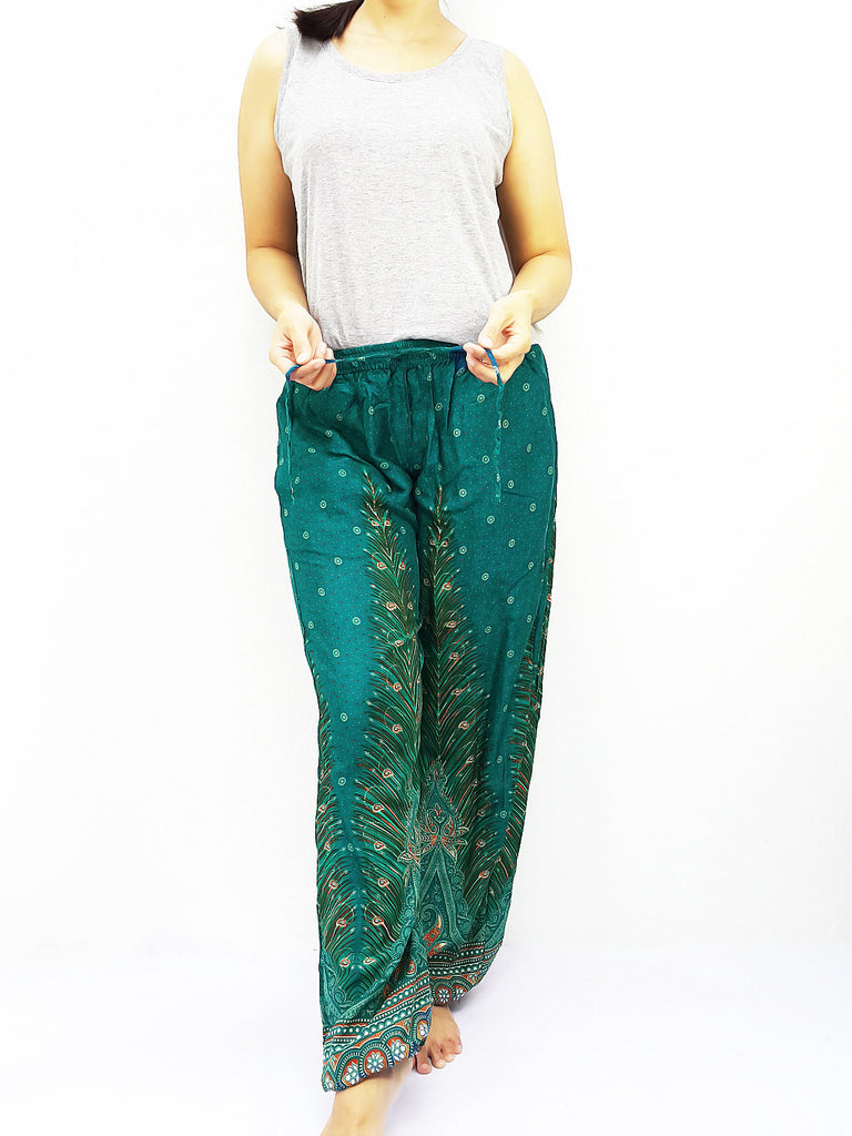 ST104 Thai Women Clothing Comfy Rayon Bohemian Trousers Hippie Baggy Genie Boho Pants Feather Teal Green