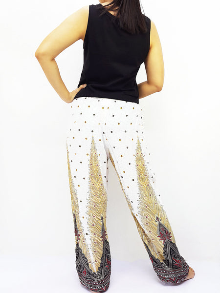 ST109 Rayon Bohemian Trousers Hippie Boho Pants Feather White, NaughtyGirl, HaremPantsThai